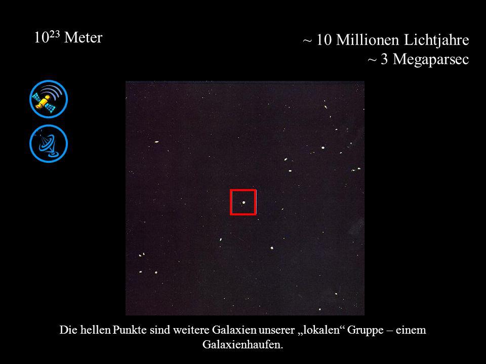 ~ 10 Millionen Lichtjahre ~ 3 Megaparsec 10 23 Meter Die hellen Punkte sind weitere Galaxien unserer lokalen Gruppe – einem Galaxienhaufen.