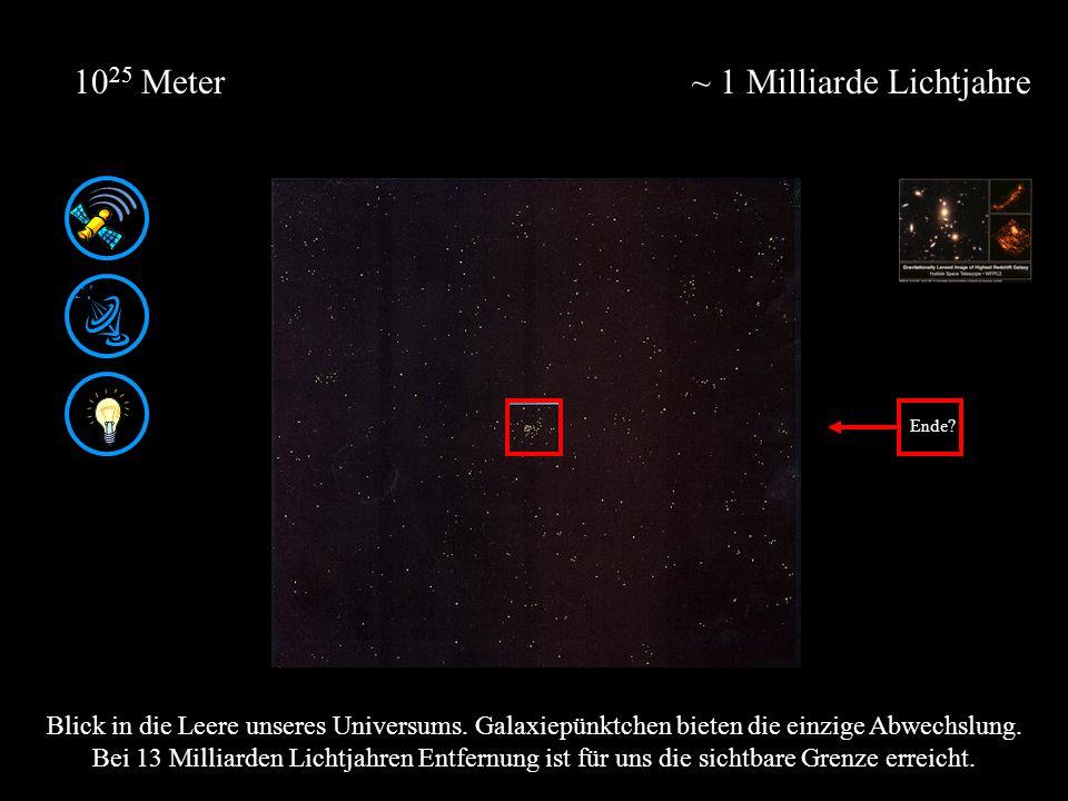 ~ 1 Milliarde Lichtjahre10 25 Meter Blick in die Leere unseres Universums. Galaxiepünktchen bieten die einzige Abwechslung. Bei 13 Milliarden Lichtjah