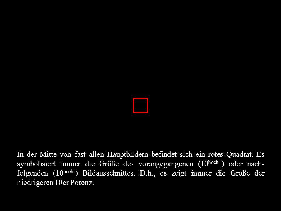 In der Mitte von fast allen Hauptbildern befindet sich ein rotes Quadrat. Es symbolisiert immer die Größe des vorangegangenen (10 hoch+ ) oder nach- f