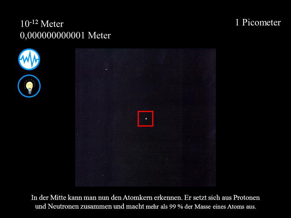 1 Picometer 10 -12 Meter 0,000000000001 Meter In der Mitte kann man nun den Atomkern erkennen. Er setzt sich aus Protonen und Neutronen zusammen und m