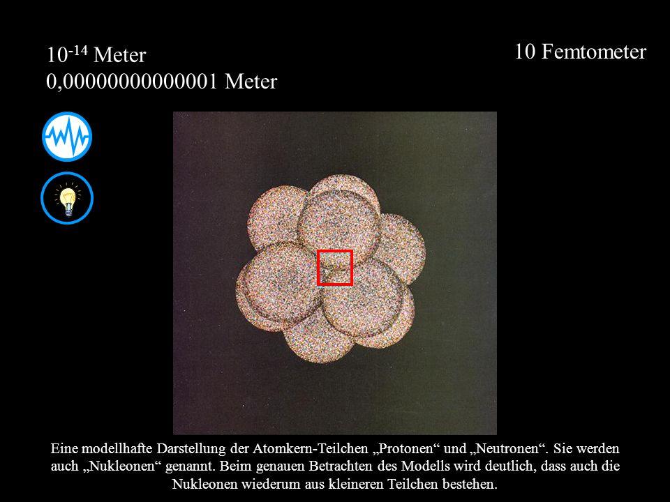 10 Femtometer Eine modellhafte Darstellung der Atomkern-Teilchen Protonen und Neutronen. Sie werden auch Nukleonen genannt. Beim genauen Betrachten de