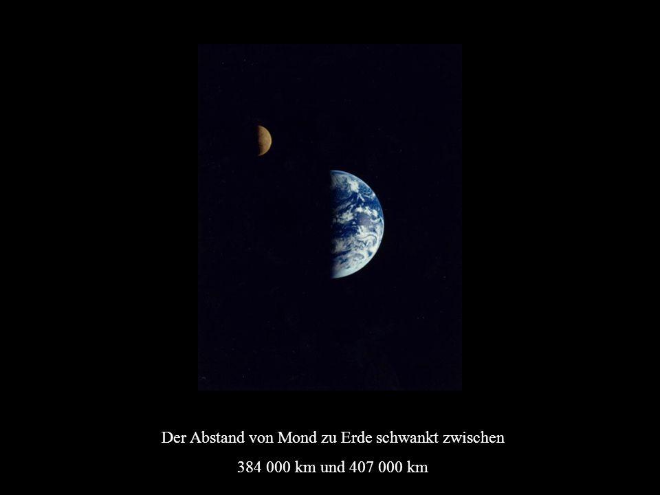 Der Abstand von Mond zu Erde schwankt zwischen 384 000 km und 407 000 km