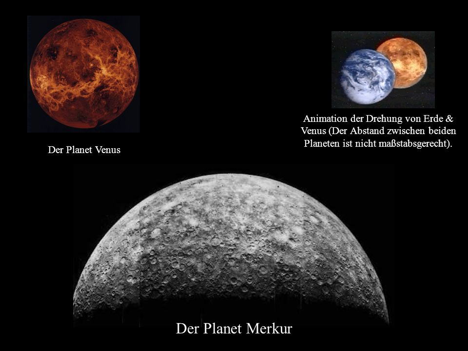 Der Planet Merkur Animation der Drehung von Erde & Venus (Der Abstand zwischen beiden Planeten ist nicht maßstabsgerecht). Der Planet Venus
