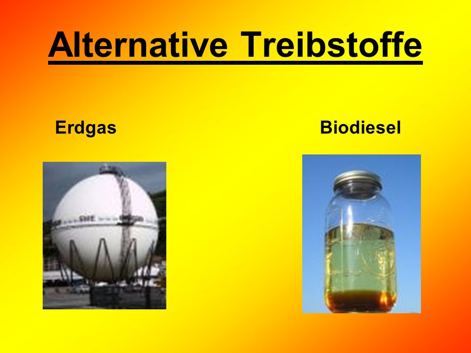 Alternative Treibstoffe Erdgas Biodiesel
