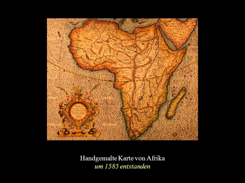Handgemalte Karte von Afrika um 1585 entstanden