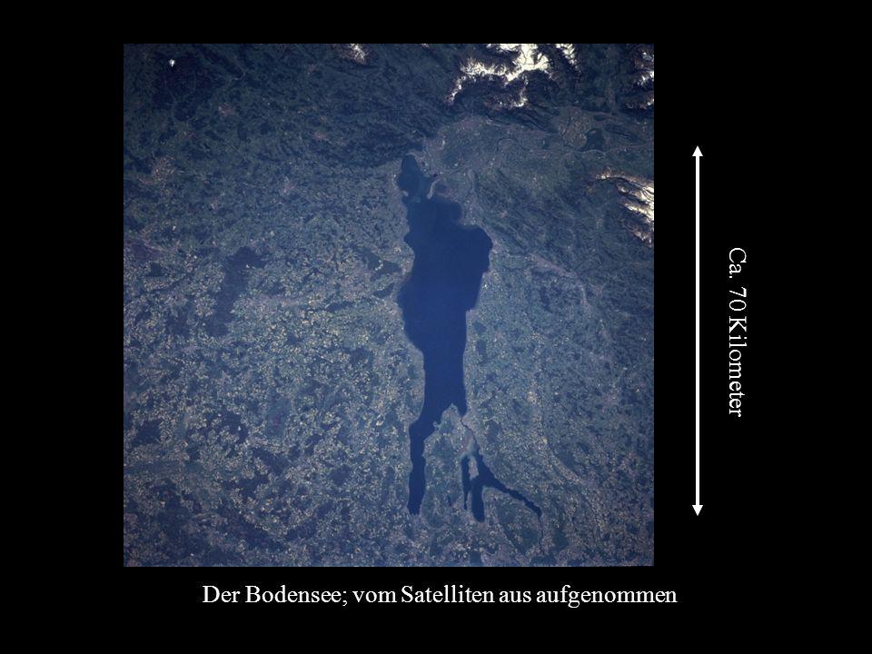 Der Bodensee; vom Satelliten aus aufgenommen Ca. 70 Kilometer