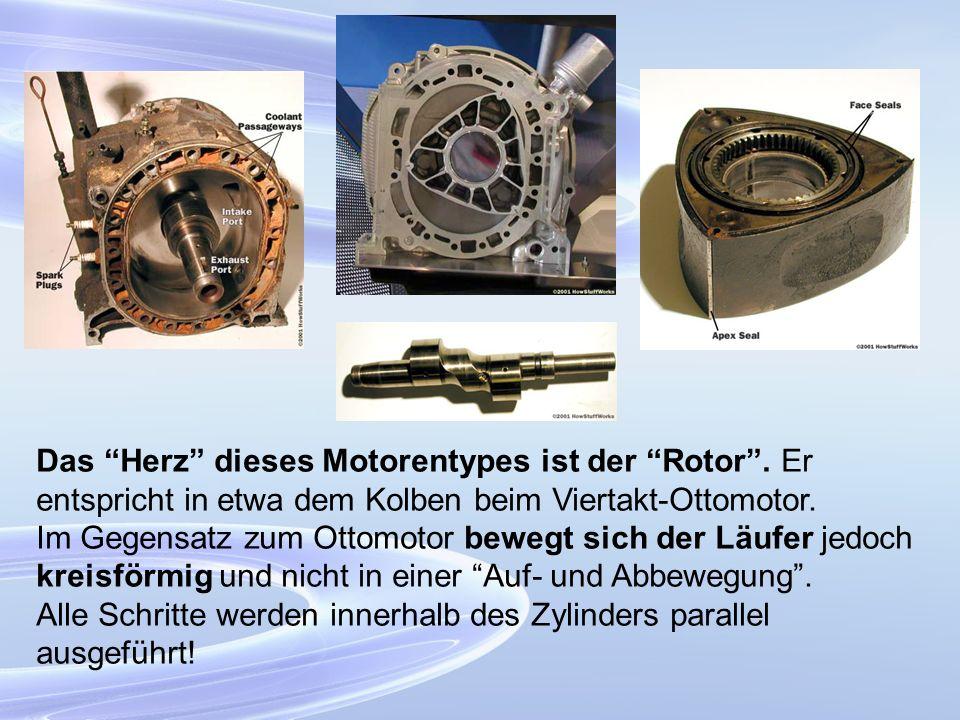 Das Herz dieses Motorentypes ist der Rotor. Er entspricht in etwa dem Kolben beim Viertakt-Ottomotor. Im Gegensatz zum Ottomotor bewegt sich der Läufe