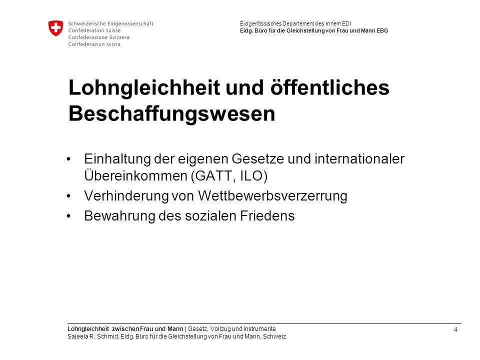 4 Lohngleichheit zwischen Frau und Mann   Gesetz, Vollzug und Instrumente Sajeela R. Schmid, Eidg. Büro für die Gleichstellung von Frau und Mann, Schw