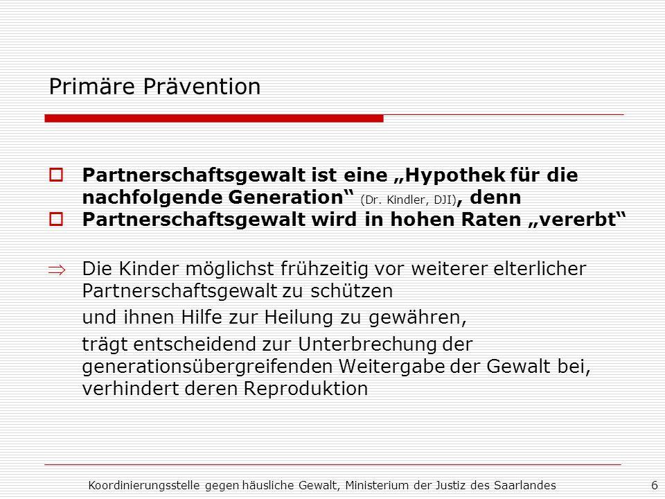 Koordinierungsstelle gegen häusliche Gewalt, Ministerium der Justiz des Saarlandes6 Primäre Prävention Partnerschaftsgewalt ist eine Hypothek für die