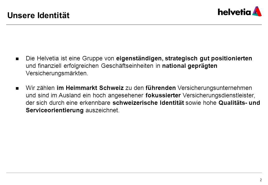 3 Die Helvetia im Überblick 18582008 Gründung der «Helvetia Allgemeinen Versicherungs- Gesellschaft», St.Gallen Geschichte Kennzahlen Ungefähr 2 Millionen Kunden im Leben- und Nicht-Lebengeschäft CHF 5.48 Mia.