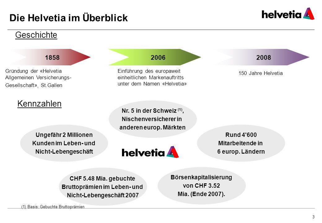 3 Die Helvetia im Überblick 18582008 Gründung der «Helvetia Allgemeinen Versicherungs- Gesellschaft», St.Gallen Geschichte Kennzahlen Ungefähr 2 Milli