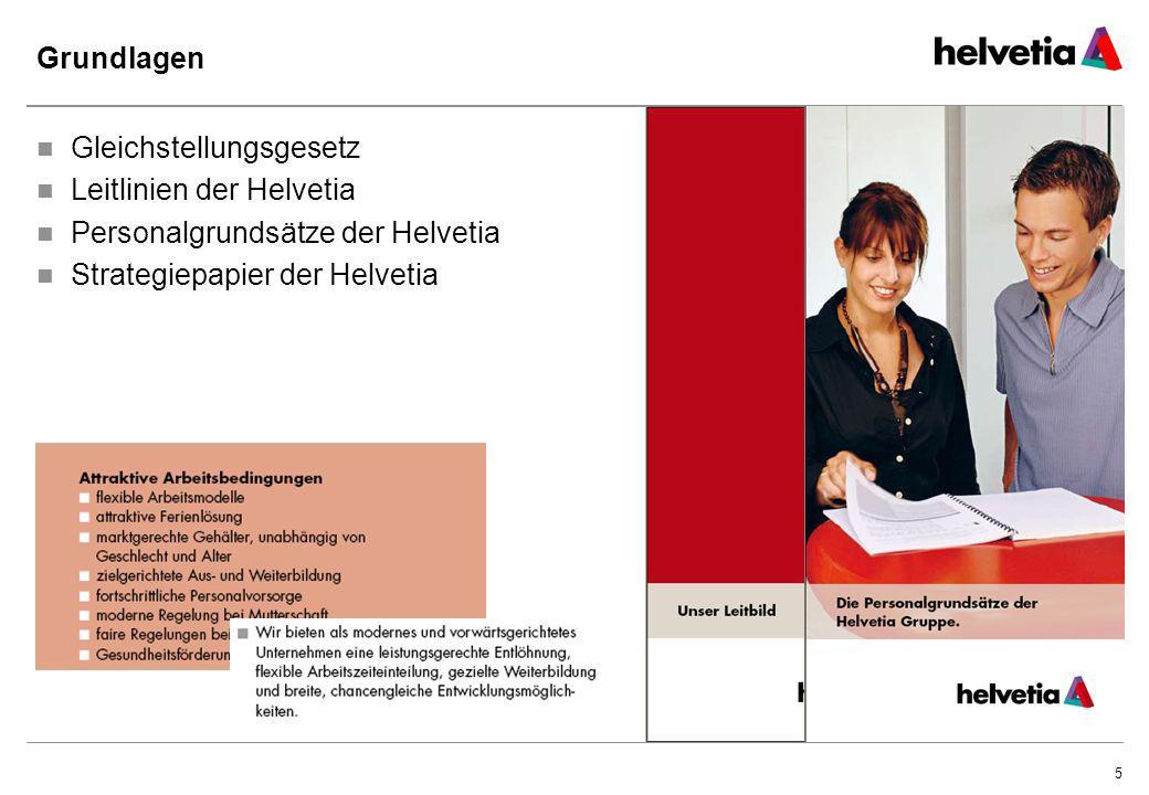 5 Grundlagen Gleichstellungsgesetz Leitlinien der Helvetia Personalgrundsätze der Helvetia Strategiepapier der Helvetia