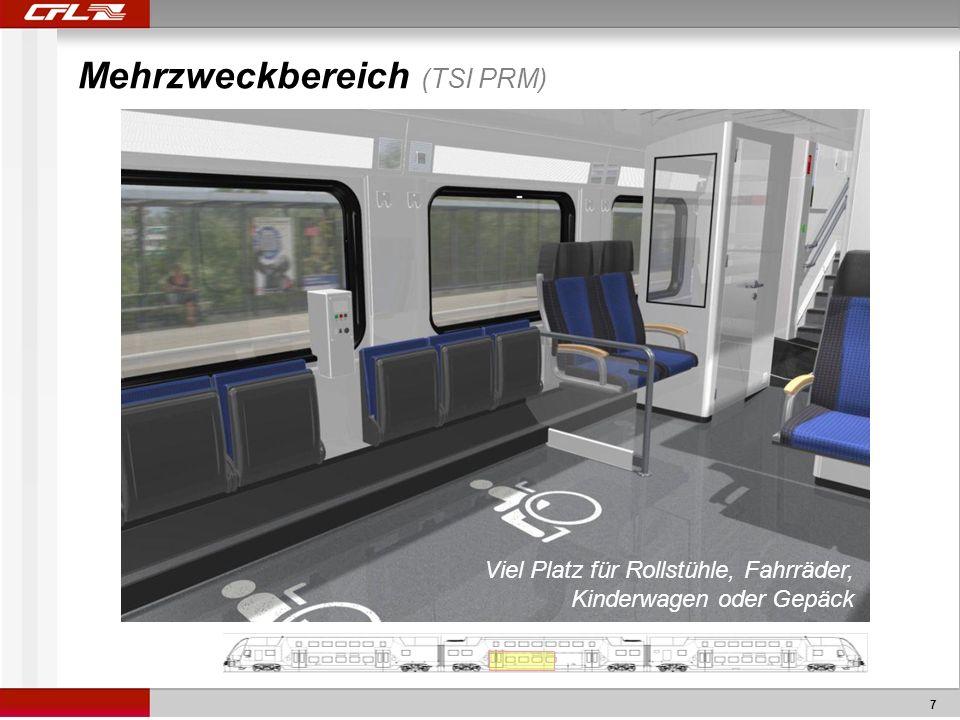 7 Mehrzweckbereich (TSI PRM) Viel Platz für Rollstühle, Fahrräder, Kinderwagen oder Gepäck