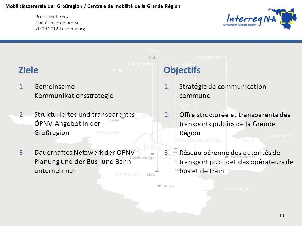 Mobilitätszentrale der Großregion / Centrale de mobilité de la Grande Région Pressekonferenz Conférence de presse 20.09.2012 Luxembourg 1.Gemeinsame K
