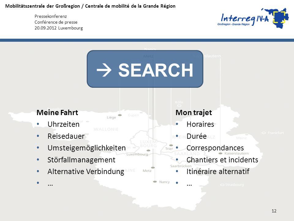 Mobilitätszentrale der Großregion / Centrale de mobilité de la Grande Région Pressekonferenz Conférence de presse 20.09.2012 Luxembourg Meine Fahrt Uh