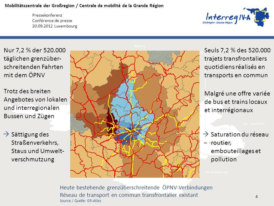 Mobilitätszentrale der Großregion / Centrale de mobilité de la Grande Région Pressekonferenz Conférence de presse 20.09.2012 Luxembourg Seuls 7,2 % de