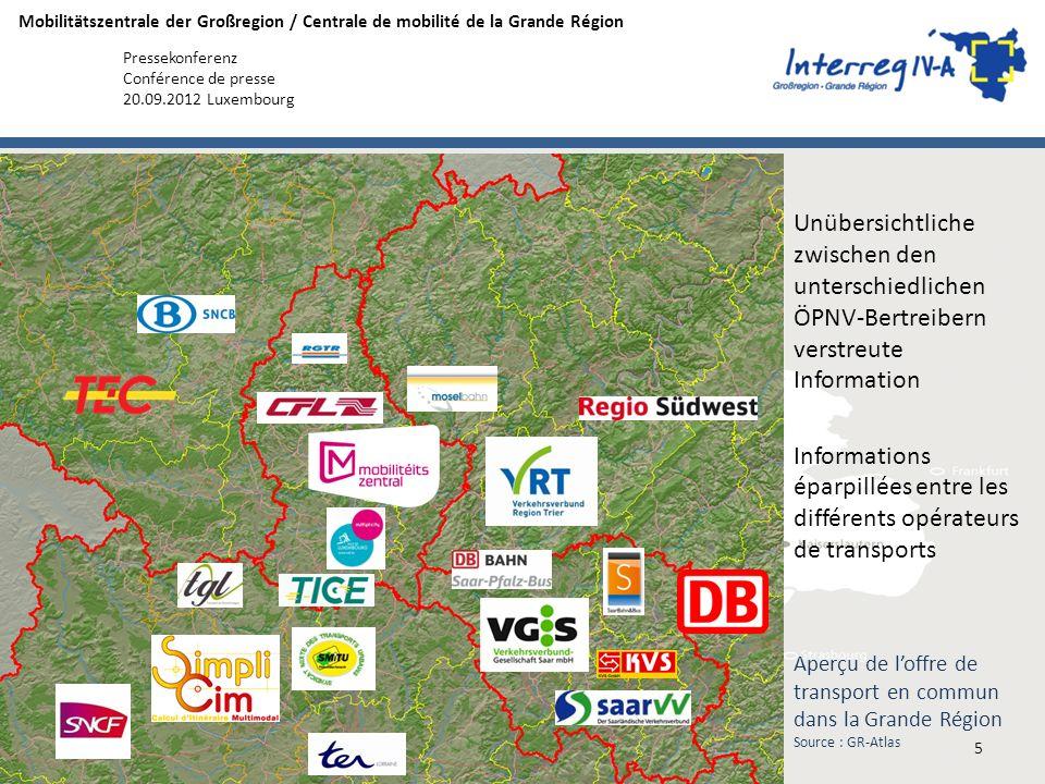 Mobilitätszentrale der Großregion / Centrale de mobilité de la Grande Région Pressekonferenz Conférence de presse 20.09.2012 Luxembourg Aperçu de loff