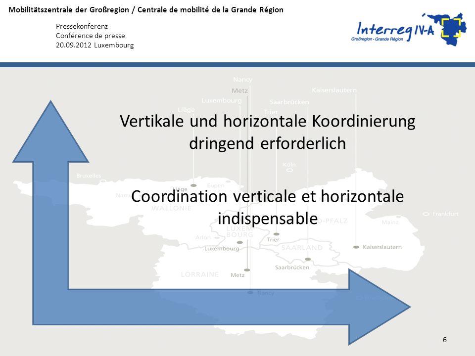 Mobilitätszentrale der Großregion / Centrale de mobilité de la Grande Région Pressekonferenz Conférence de presse 20.09.2012 Luxembourg Vertikale und