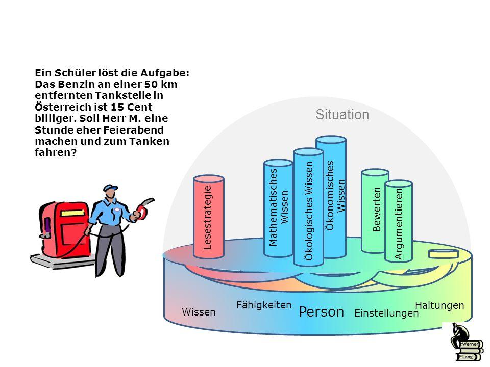 Ein Schüler löst die Aufgabe: Das Benzin an einer 50 km entfernten Tankstelle in Österreich ist 15 Cent billiger. Soll Herr M. eine Stunde eher Feiera
