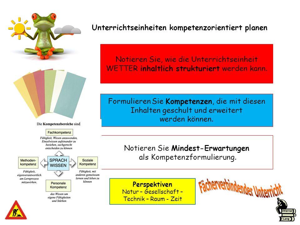 Notieren Sie, wie die Unterrichtseinheit WETTER inhaltlich strukturiert werden kann. Unterrichtseinheiten kompetenzorientiert planen Formulieren Sie K