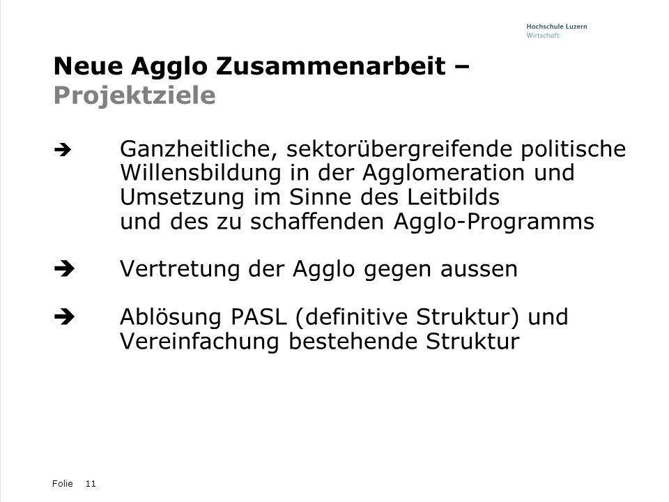 Folie11 Neue Agglo Zusammenarbeit – Projektziele Ganzheitliche, sektorübergreifende politische Willensbildung in der Agglomeration und Umsetzung im Si