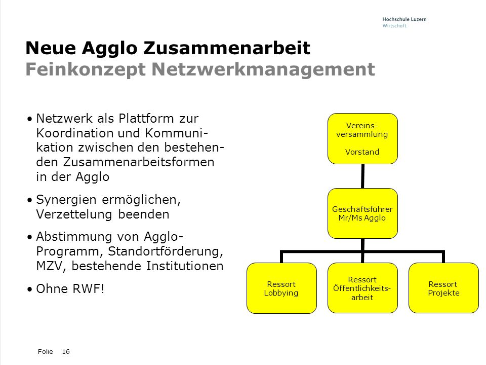 Folie16 Neue Agglo Zusammenarbeit Feinkonzept Netzwerkmanagement Netzwerk als Plattform zur Koordination und Kommuni- kation zwischen den bestehen- de