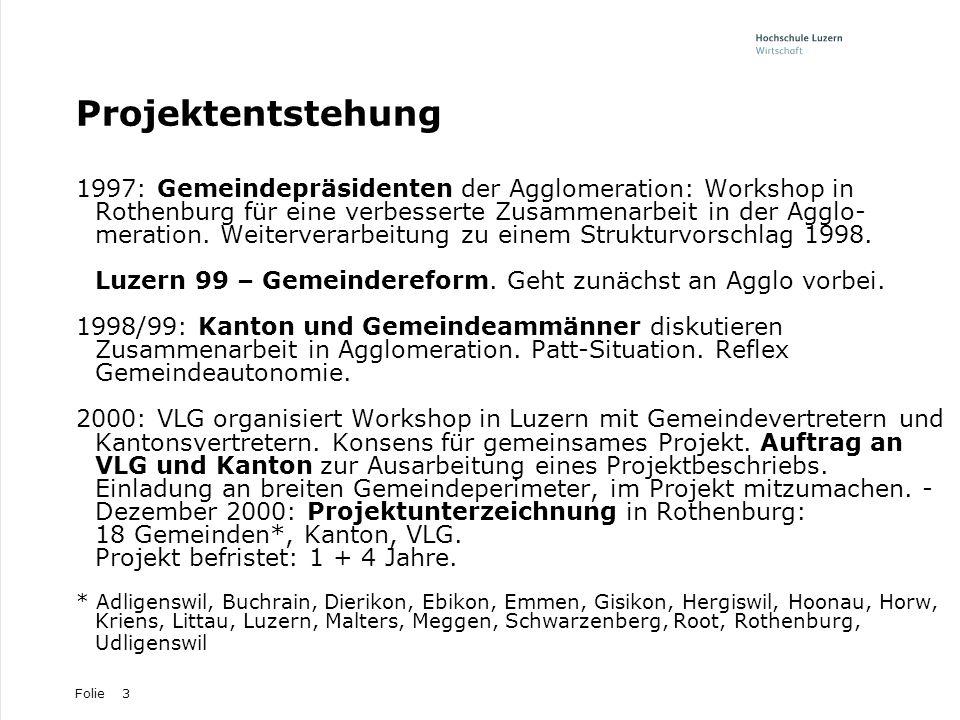 Folie3 Projektentstehung 1997: Gemeindepräsidenten der Agglomeration: Workshop in Rothenburg für eine verbesserte Zusammenarbeit in der Agglo- meratio