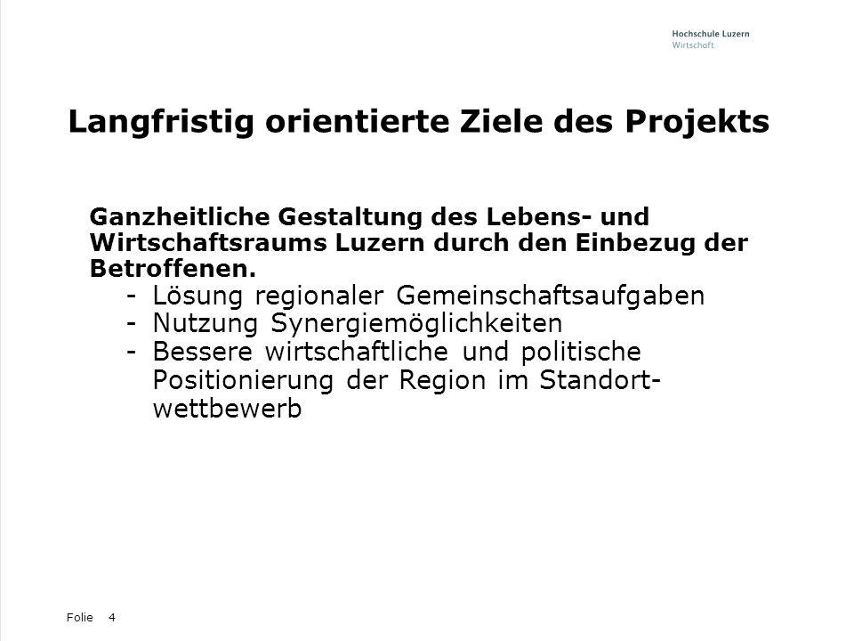 Folie4 Langfristig orientierte Ziele des Projekts Ganzheitliche Gestaltung des Lebens- und Wirtschaftsraums Luzern durch den Einbezug der Betroffenen.