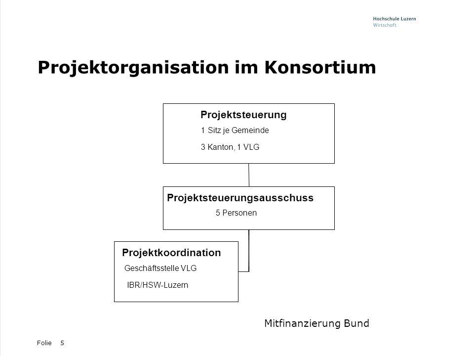 Folie5 Projektorganisation im Konsortium Projektkoordination Geschäftsstelle VLG IBR/HSW-Luzern Projektsteuerungsausschuss 5 Personen Projektsteuerung