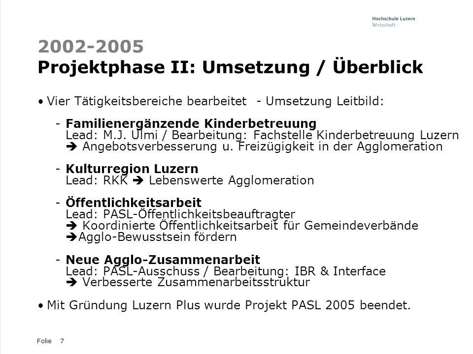 Folie7 2002-2005 Projektphase II: Umsetzung / Überblick Vier Tätigkeitsbereiche bearbeitet - Umsetzung Leitbild: -Familienergänzende Kinderbetreuung L