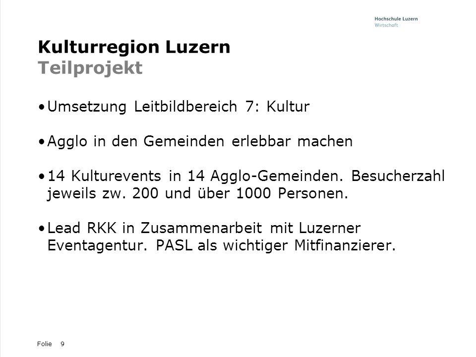 Folie9 Kulturregion Luzern Teilprojekt Umsetzung Leitbildbereich 7: Kultur Agglo in den Gemeinden erlebbar machen 14 Kulturevents in 14 Agglo-Gemeinde