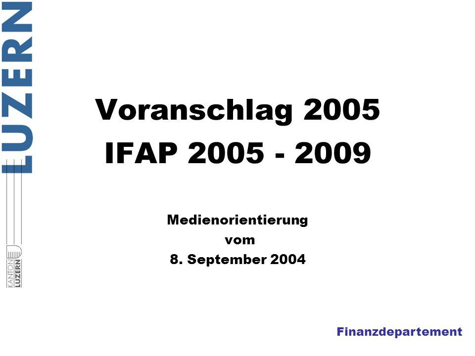 Finanzdepartement Voranschlag 2005 IFAP 2005 - 2009 Medienorientierung vom 8. September 2004