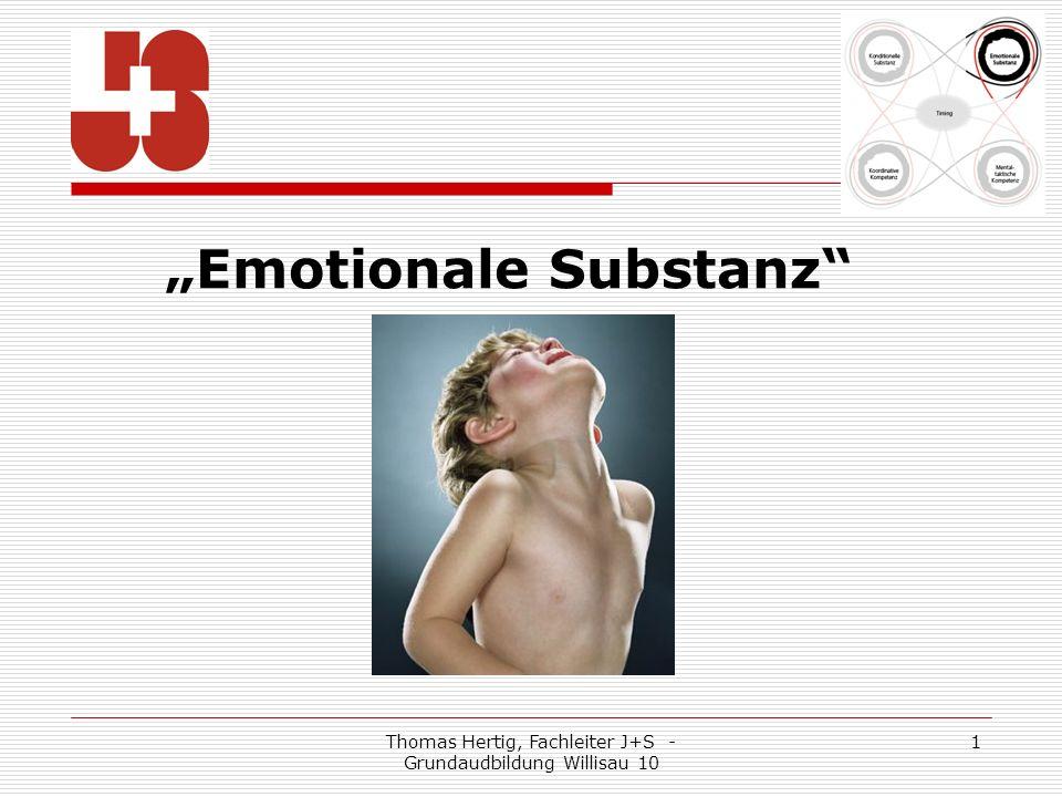 Thomas Hertig, Fachleiter J+S - Grundaudbildung Willisau 10 1 Emotionale Substanz