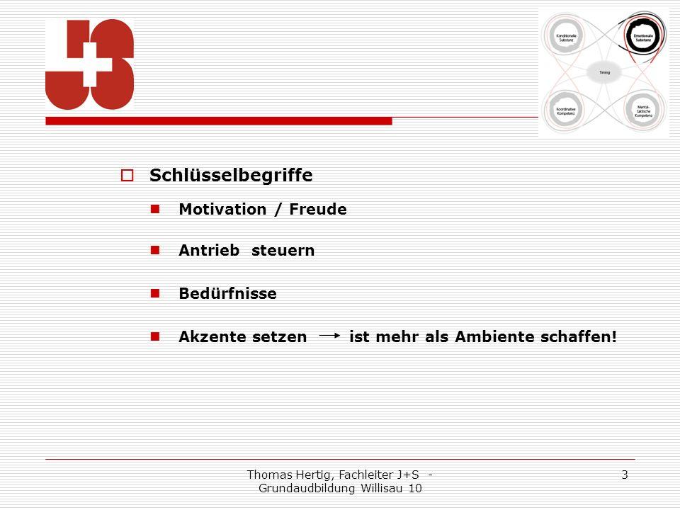 Thomas Hertig, Fachleiter J+S - Grundaudbildung Willisau 10 3 Schlüsselbegriffe Motivation / Freude Antrieb steuern Bedürfnisse Akzente setzen ist mehr als Ambiente schaffen!