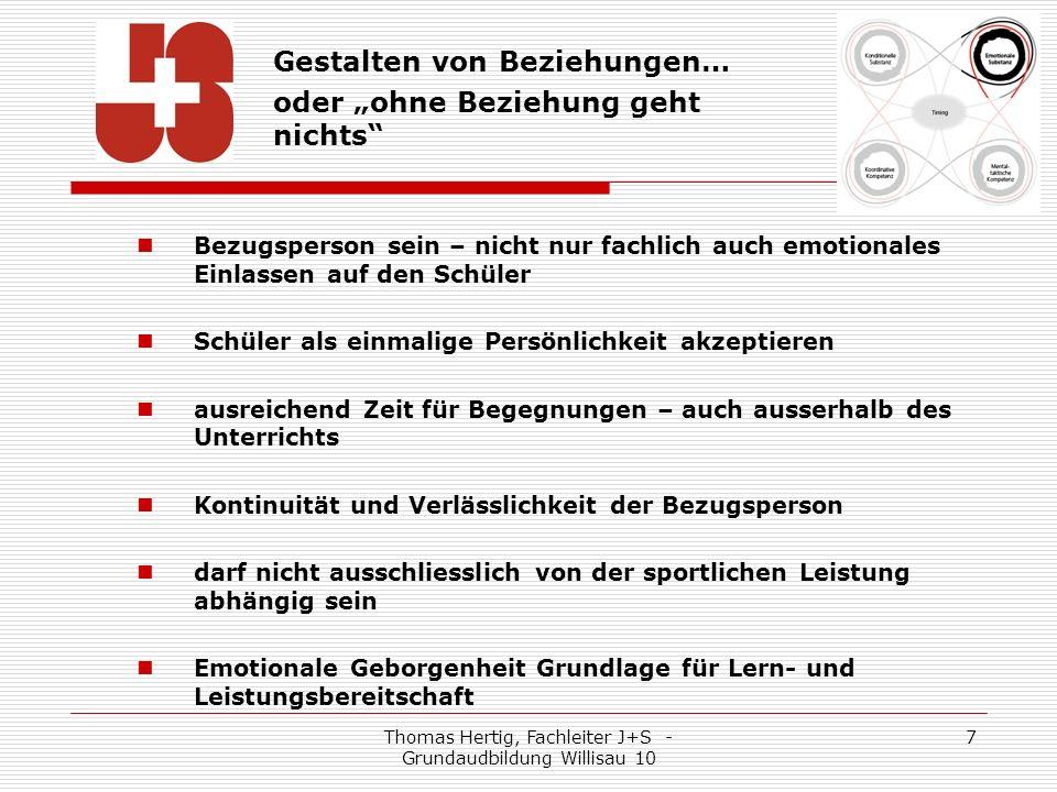 Thomas Hertig, Fachleiter J+S - Grundaudbildung Willisau 10 8 Pädagogischer Ansatz… Empathisch jenen Moment fühlen, der sich eignet, um einen Korrekturhinweis erfolgreich anzubringen.