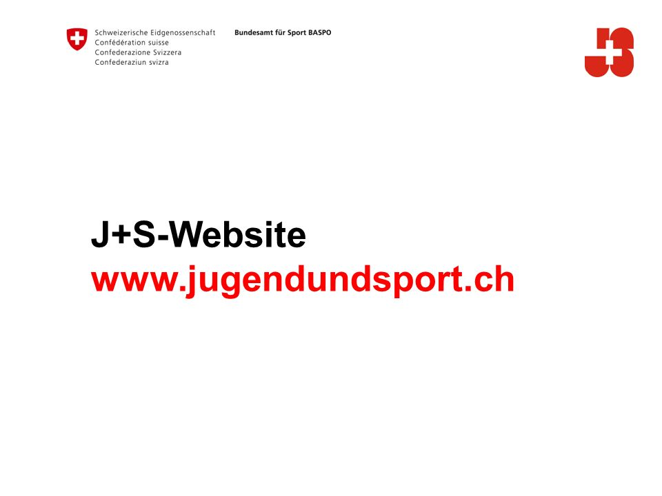 J+S-Website www.jugendundsport.ch