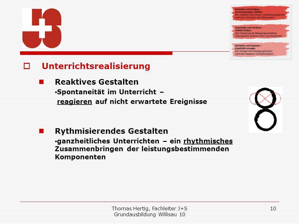Thomas Hertig, Fachleiter J+S Grundausbildung Willisau 10 10 Unterrichtsrealisierung Reaktives Gestalten Spontaneität im Unterricht – reagieren auf ni