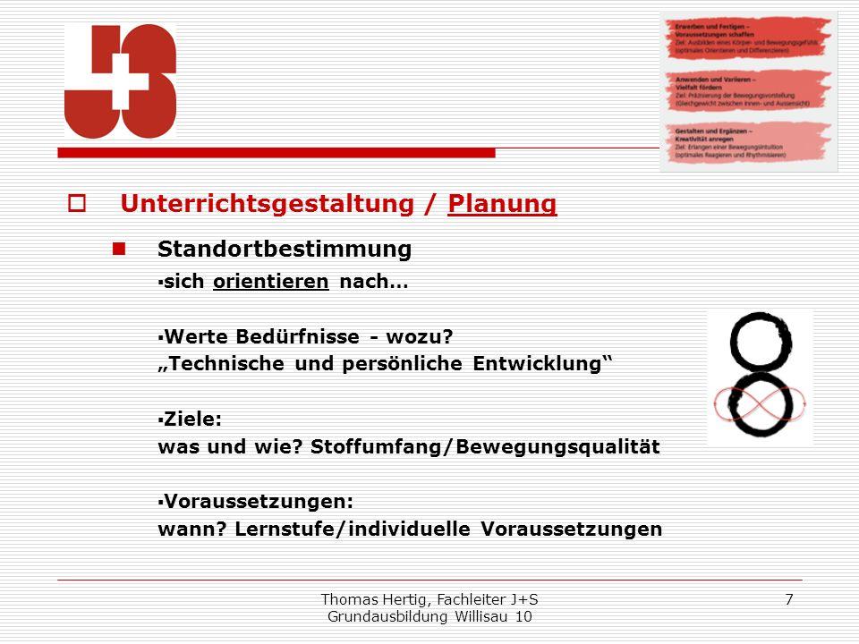 Thomas Hertig, Fachleiter J+S Grundausbildung Willisau 10 7 Unterrichtsgestaltung / Planung Standortbestimmung sich orientieren nach… Werte Bedürfniss