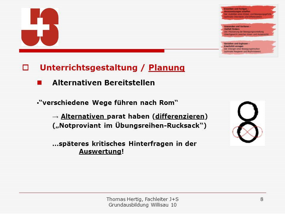Thomas Hertig, Fachleiter J+S Grundausbildung Willisau 10 8 Unterrichtsgestaltung / Planung Alternativen Bereitstellen verschiedene Wege führen nach R