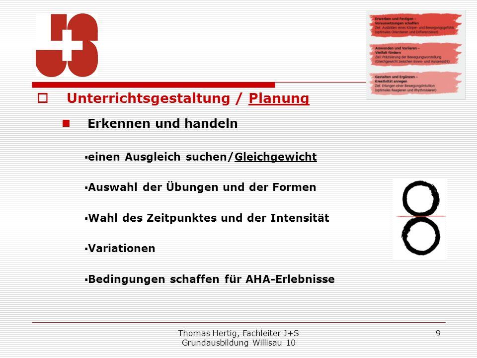 Thomas Hertig, Fachleiter J+S Grundausbildung Willisau 10 9 Unterrichtsgestaltung / Planung Erkennen und handeln einen Ausgleich suchen/Gleichgewicht