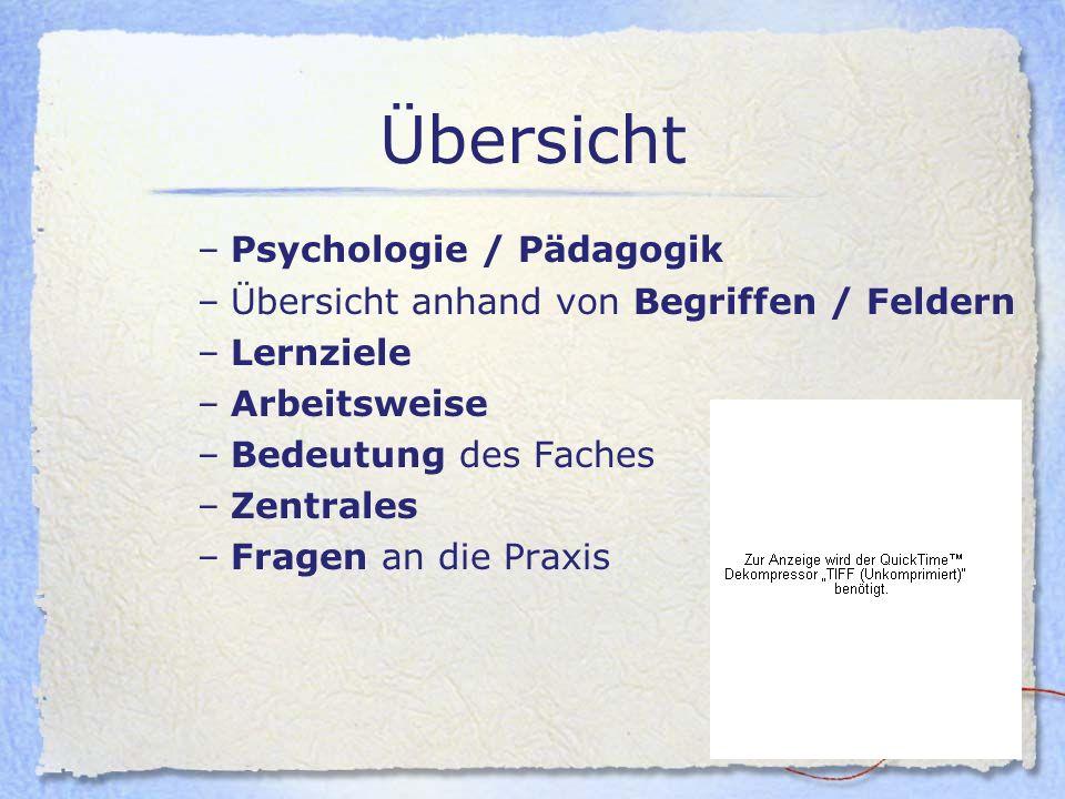 Übersicht –Psychologie / Pädagogik –Übersicht anhand von Begriffen / Feldern –Lernziele –Arbeitsweise –Bedeutung des Faches –Zentrales –Fragen an die