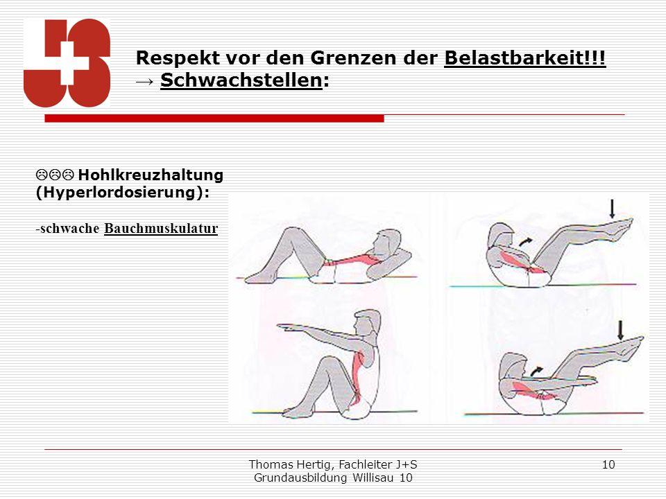 Thomas Hertig, Fachleiter J+S Grundausbildung Willisau 10 10 Respekt vor den Grenzen der Belastbarkeit!!! Schwachstellen: Hohlkreuzhaltung (Hyperlordo