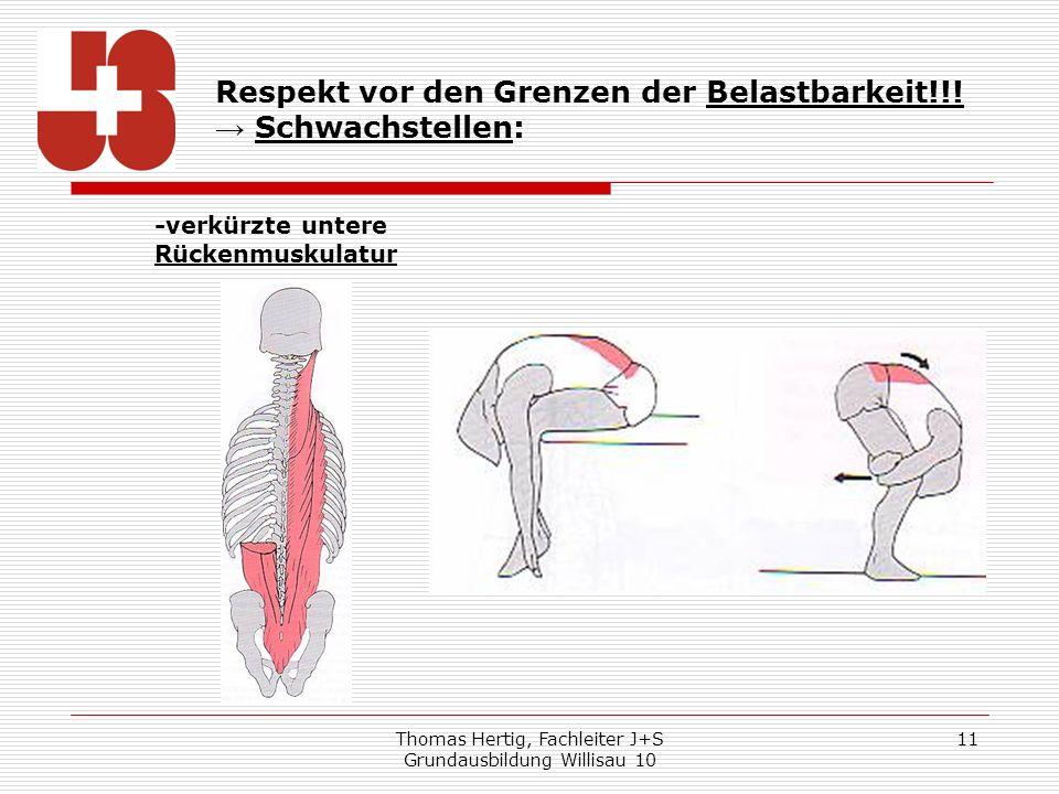 Thomas Hertig, Fachleiter J+S Grundausbildung Willisau 10 11 Respekt vor den Grenzen der Belastbarkeit!!! Schwachstellen: -verkürzte untere Rückenmusk