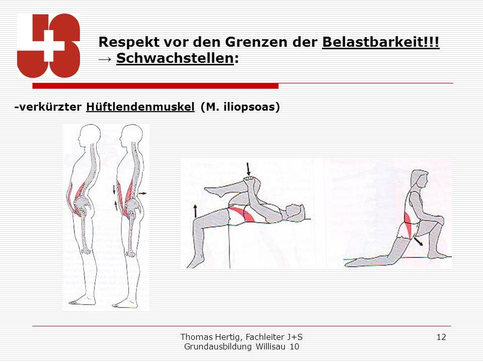 Thomas Hertig, Fachleiter J+S Grundausbildung Willisau 10 12 Respekt vor den Grenzen der Belastbarkeit!!! Schwachstellen: -verkürzter Hüftlendenmuskel