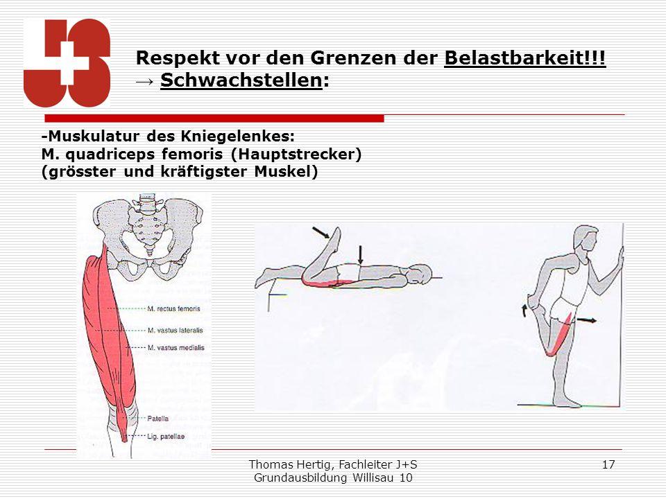 Thomas Hertig, Fachleiter J+S Grundausbildung Willisau 10 17 Respekt vor den Grenzen der Belastbarkeit!!! Schwachstellen: -Muskulatur des Kniegelenkes