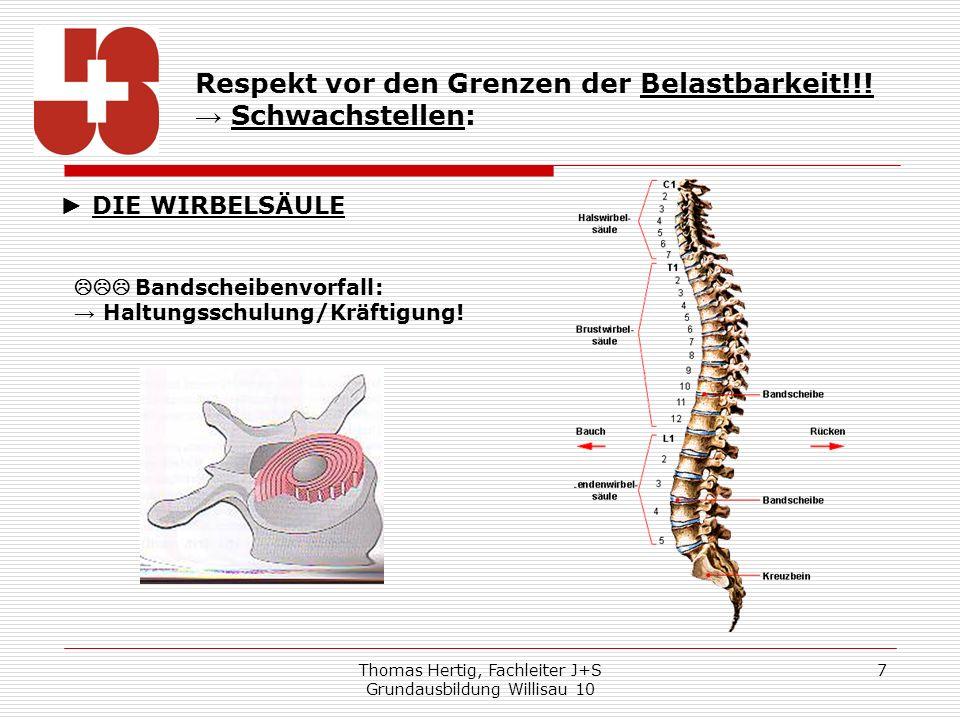 Thomas Hertig, Fachleiter J+S Grundausbildung Willisau 10 8 Respekt vor den Grenzen der Belastbarkeit!!.
