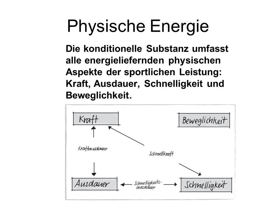 Physische Energie Die konditionelle Substanz umfasst alle energieliefernden physischen Aspekte der sportlichen Leistung: Kraft, Ausdauer, Schnelligkeit und Beweglichkeit.