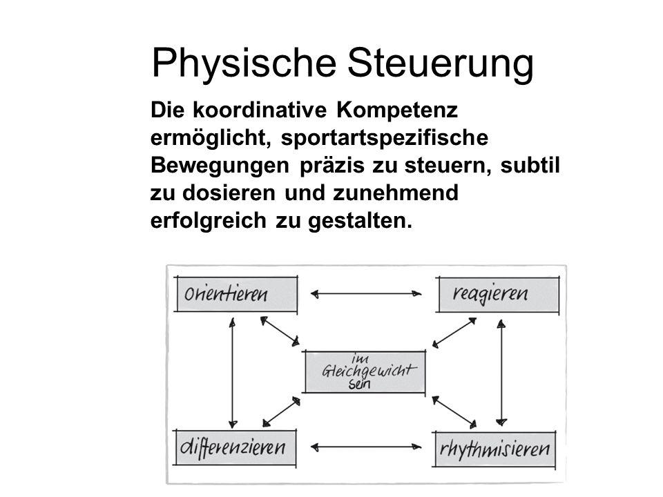 Physische Steuerung Die koordinative Kompetenz ermöglicht, sportartspezifische Bewegungen präzis zu steuern, subtil zu dosieren und zunehmend erfolgre