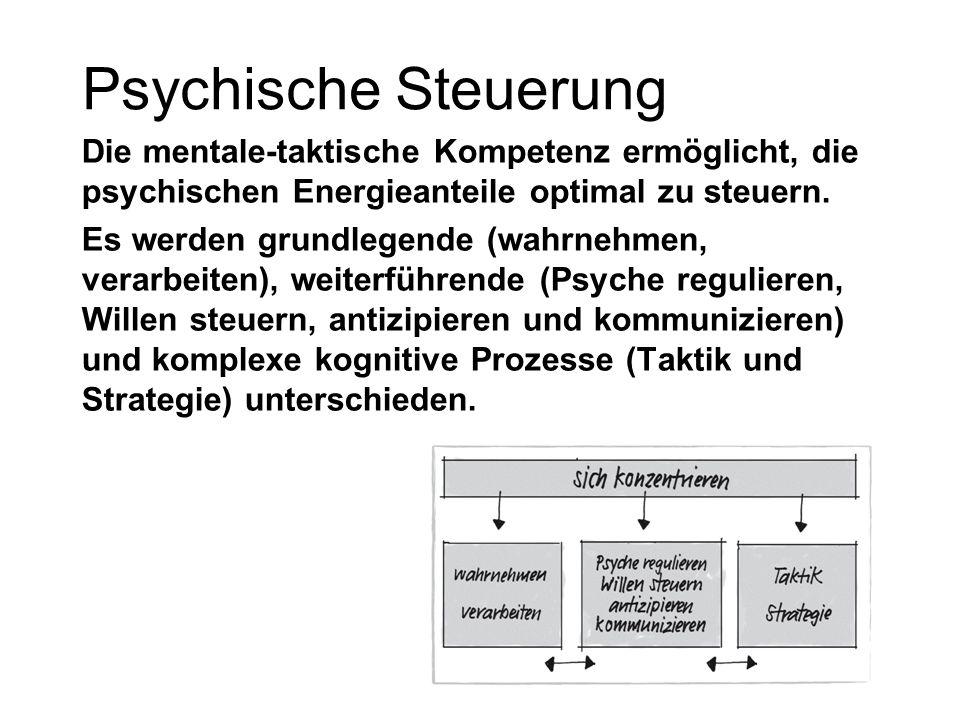 Psychische Steuerung Die mentale-taktische Kompetenz ermöglicht, die psychischen Energieanteile optimal zu steuern. Es werden grundlegende (wahrnehmen