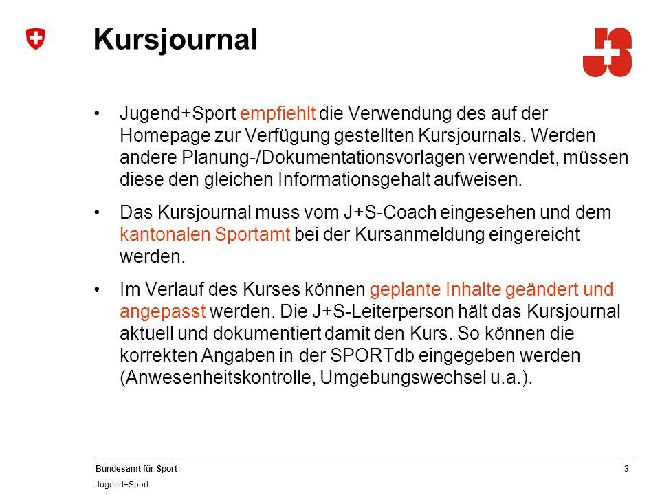 3 Bundesamt für Sport Jugend+Sport Jugend+Sport empfiehlt die Verwendung des auf der Homepage zur Verfügung gestellten Kursjournals. Werden andere Pla